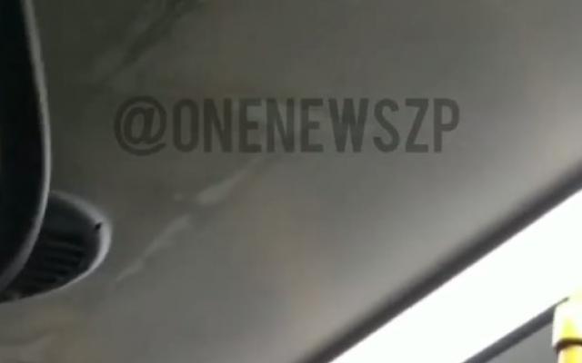В запорожском автобусе, который вышел на маршрут несколько месяцев назад, треснул потолок (ВИДЕО) Фото № 0
